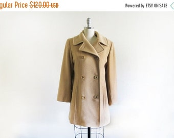 WINTER SALE Vintage Scassi Camel hair Coat/ Double Breasted / Classic Style / Made in the USA