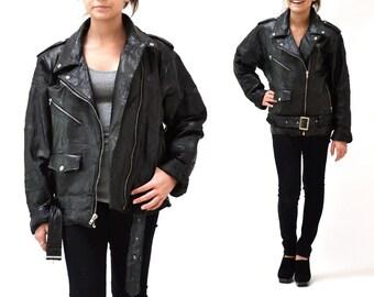 Vintage Black Leather Motorcycle Jacket SIze Mens Small Women Large XL// Vintage Black Leather Biker Jacket Size Large XL Patchwork Leather