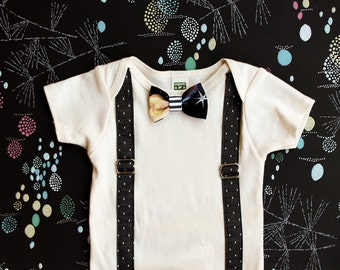 Rts / Suspenders and Bowtie Onesie / Gray Chambray Polka Dot Suspenders / Fancy Baby Outfit / Organic Clothing / Black and White