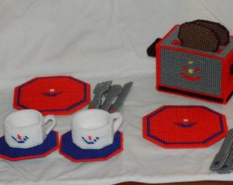Toy Plastic Canvas Playtime Breakfast with Toaster and Dishes