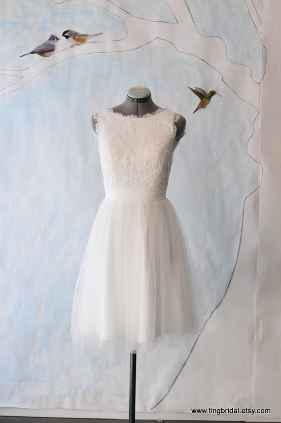 Rebecca knee length wedding dress-made to order-soft white lace cotton tulle
