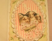 EASTER CARD handmade whitewashed shabby chic vintage style A-2 size with envelope
