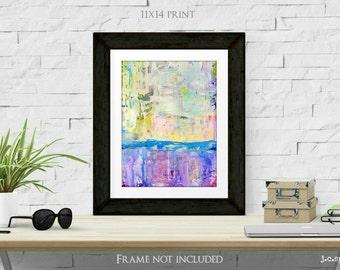 "Abstract Print, 11x14"" Mixed Media Art Print, Bright Colors, Abstract Art, Wall Art, (279x356mm) blue, purple, pink, ""Satisfy"""