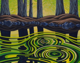 Green Ripples IV, 30X40, Original Painting, Canadian Artist, Ready to Hang, Gallery Canvas