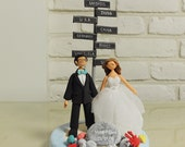 Custom Wedding Cake Topper - Custom Cake Topper - Honeymoon Theme - Funny Cake Topper - Custom Wedding Cake Topper