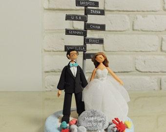 Travel theme Wedding Cake Topper - Custom Cake Topper - Honeymoon Theme