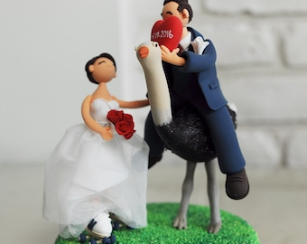 Cute couple in the Farm wedding cake topper - Groom on the Ostrich, Farm Stay