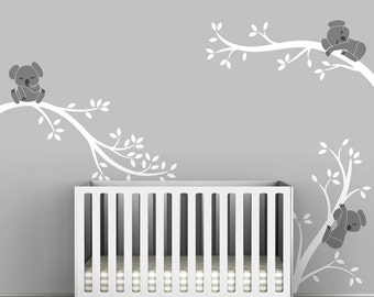 White and Gray Koala Tree Branches by LittleLion Studio Baby Nursery Wall Decal