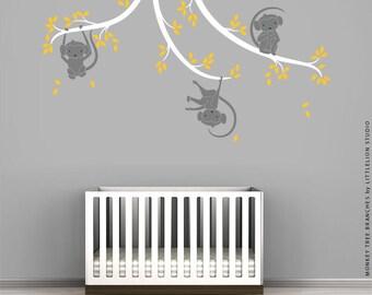 Baby Monkey Wall Sticker by LittleLion Studio - Gray, White, Yellow - Baby Nursery Wall Decor