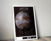 GEEKLOVE SALE Jupiter and its Moon // Human Space Exploration Infographic Print with Planetary Mission Timeline // Maroon and Brown Low Poly