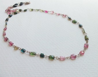 Reserve for Jennifer Rainbow Tourmaline Natural Gemstone Wire Wrapped Handmade Necklace with Sterling Silver SALE