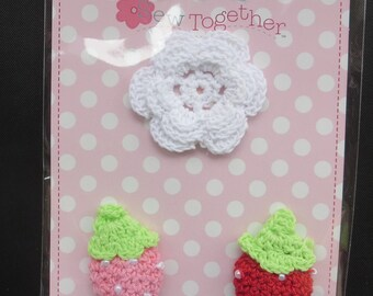 Weekly Special - Sew Together Crocheted Flower and 2 Strawberries