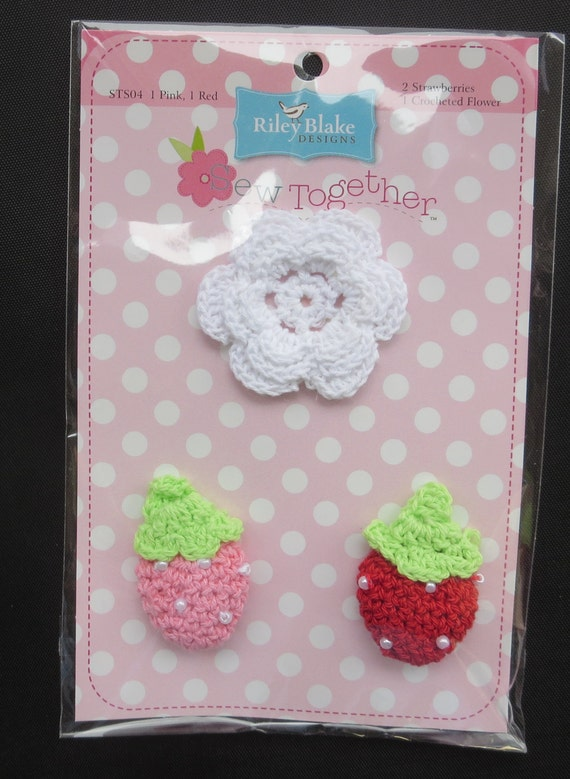 Weekend Sale -  Sew Together Crocheted Flower and 2 Strawberries
