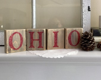 OHIO wood blocks, rustic home decor, gray, red, ohio state decor, made in ohio