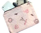 Paris Theme Bag - Makeup Bag, cosmetic pouch, cat bag, eiffel tower print bag, kawaii French theme fabric school pencil pouch