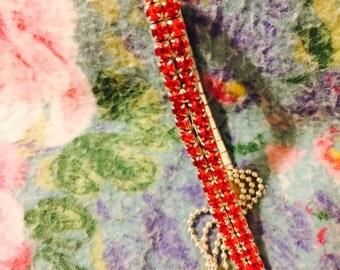 Red Crystal rhinestone bracelet silver tone tiniest beads