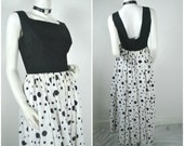 60s 50s polka dot cotton evening gown  dress