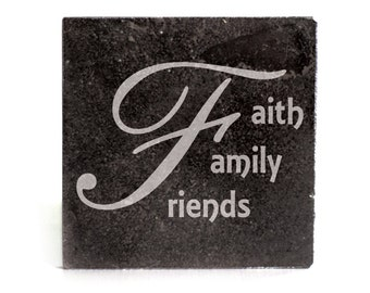 Coasters Set of 4 - black granite laser - 9926 Faith Family Friends