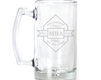 Personalized Large Beer Mug - 25 oz. - 8565 Diamond with Banner Personalized