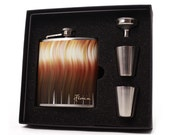 Flask Gift Set // Personalized Gift with 6oz Flask, Shot Cups, Funnel and Gift Box