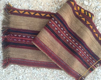 Handwoven traditional camel wool carpet ~