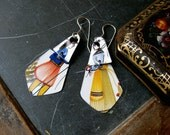 French Couple Tin Earrings-French Tin-Light Weight Earrings