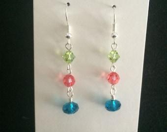 Fiesta lime coral teal swarovski element dangle earrings\\ bright Caribbean earrings
