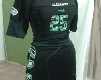 Custom made to order Seahawks 2 piece  black jersey dress Sherman 25 pick any player