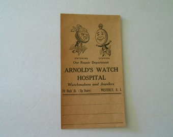 vintage watch repair envelope with great anthropormophic graphics