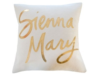 Custom Name Pillow, Cream and Metallic Gold - Nursery Decor, Baby Shower Gift
