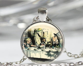 ON SALE Alice In Wonderland Jewelry A Mad Tea Party Mad Hatter March Hare Fairy Tale Art Pendant in Bronze or Silver with Link Chain Include