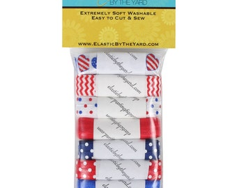 Patriotic Love USA 7yd Sample Pack Fold Over Elastic