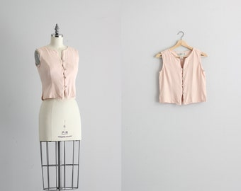 Vintage Vest Womens Shirt . 90s Pink Blouse . Button Up Blouse