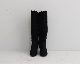 Black Suede Boots . Womens Vintage Heeled Boots . Tall Slouchy Boots