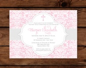 First Communion Invitation - Printed or Printable File Pink Communion Invitation by 505 Design, Inc