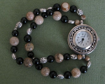 Brown & Black Jasper Beaded Watch, Beaded Bracelet Watch