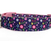 Pink & Navy Flower Dog Collar / Girl Dog Collar / Floral Dog Collar / Pink and Blue Dog Collar / Nylon Webbing Dog Collar