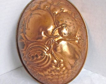 Copper Mold KREAMER Copper Tin Mold Fruit Design Vintage Kitchen 1950s Kitchen Cooking