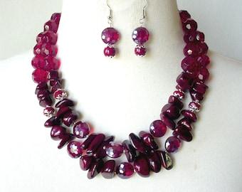Chunky Statement Necklace, 3 Piece Set, Bold Double Strand Necklace, Semiprecious Stone Necklace, Dark Red Necklace, Artisan Necklace Set