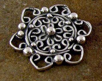 2 Marquisate Style Sterling Silver Flower Links -  Open and Oxidized, L7