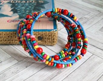 beaded bracelet, colorful bracelet, memory wire, gifts for her