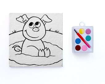 Pig in Mud Canvas Paint Set