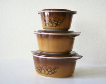 Vintage Pyrex Casserole Dish set, Old orchard,Brown