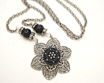 Antique Button Jewelry - Silver Filigree Flower Necklace - Antique Button Necklace - Antique Black Button Pendant - Filigree Necklace