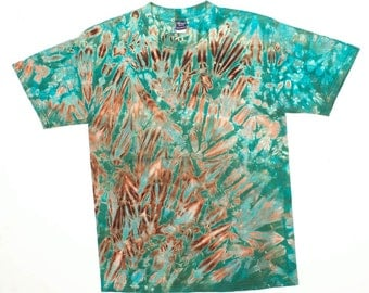 M Shibori Men's Tie Dye T Shirt Black Greens