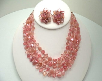West Germany Pink Glass Necklace Earring Set Signed