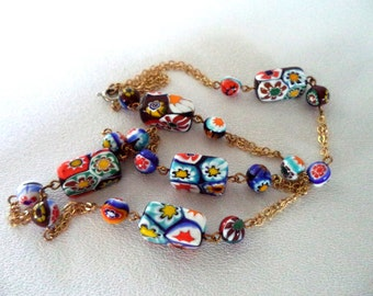 Vintage Millefiori Glass Bead Necklace Long Rectangle Beads Double Gold Chain Round Beads