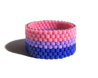 Bisexual pride bead ring,  Peyote Seed Bead Ring, Gay Pride Thin Band Ring, Nonbinary Pride, Bi Pride, Queer Lesbian Jewelry, LGBT  LGBTQ