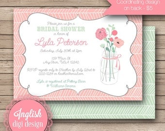 Rustic Floral Bridal Shower Invite, Printable Floral Bouquet Bridal Shower Invitation, Boho, Rustic Bridal Shower in Coral and Teal