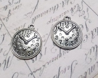 Clock Charms Pendants Antiqued Silver Steampunk Supplies Vintage Style 10 pieces